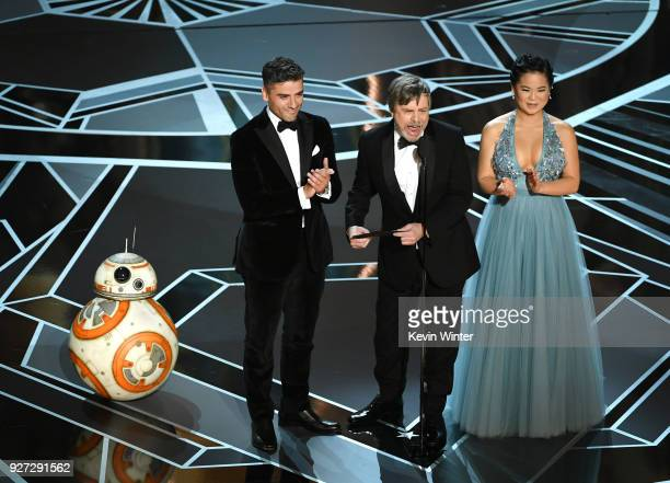 BB8 actors Oscar Isaac Mark Hamill and Kelly Marie Tran speak onstage during the 90th Annual Academy Awards at the Dolby Theatre at Hollywood...