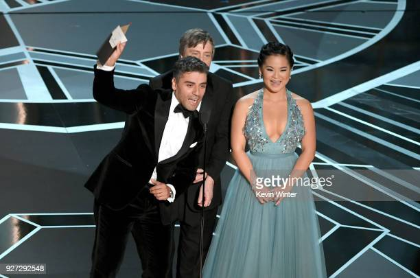 Actors Oscar Isaac Mark Hamill and Kelly Marie Tran speak onstage during the 90th Annual Academy Awards at the Dolby Theatre at Hollywood Highland...