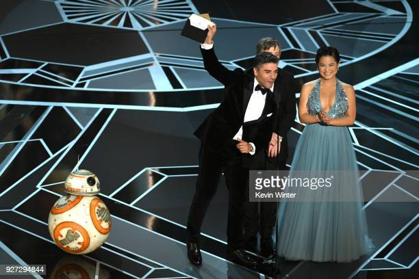 Actors Oscar Isaac, Mark Hamill and Kelly Marie Tran speak onstage during the 90th Annual Academy Awards at the Dolby Theatre at Hollywood & Highland...