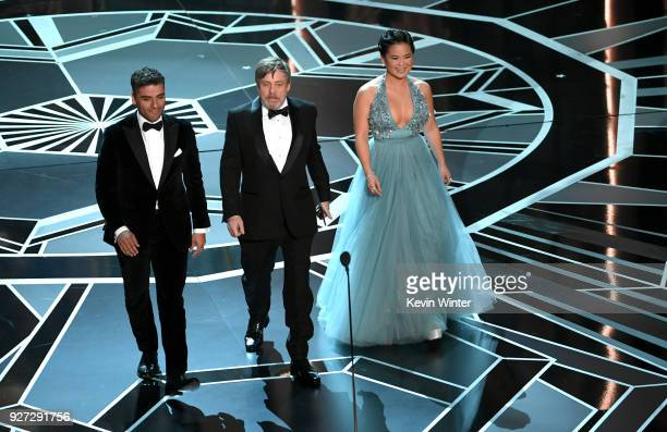Actors Oscar Isaac Mark Hamill and Kelly Marie Tran walk onstage during the 90th Annual Academy Awards at the Dolby Theatre at Hollywood Highland...