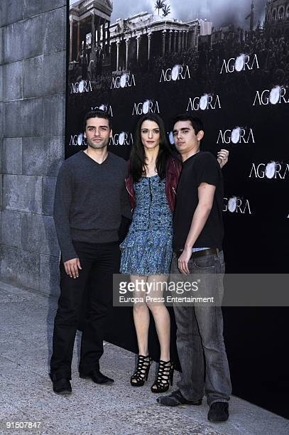 Actors Oscar Isaac Raquel Weisz and Max Minghella attend the press conference to present 'Agora' at Biblioteca Nacional on October 6 2009 in Madrid...