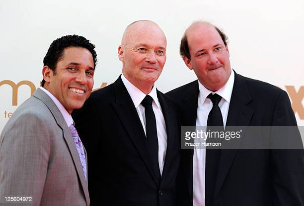 Actors Oscar Nunez Creed Bratton and Brian Baumgartner arrive at the 63rd Annual Primetime Emmy Awards held at Nokia Theatre LA LIVE on September 18...