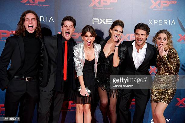 Actors Oscar Sinela Luis Fernandez Ursula Corbero Amaia Salamanca Maxi Iglesias and Alba Ribas attend XP3D premiere at the Callao cinema on December...