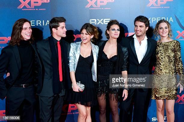Actors Oscar Sinela Luis Fernandez Ursula Corbero Amaia Salamanca Maxi Iglesias and Alba Ribas attend 'XP3D' premiere at the Callao cinema on...