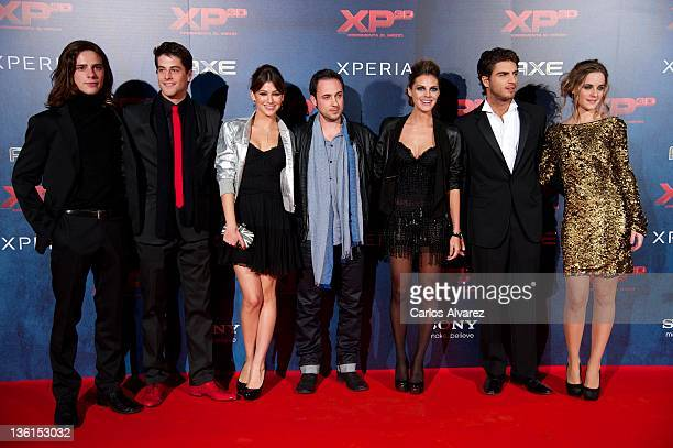 Actors Oscar Sinela Luis Fernandez Ursula Corbero director Sergi Vizcaino Amaia Salamanca Maxi Iglesias and Alba Ribas attend XP3D premiere at the...