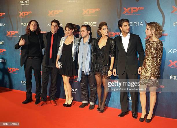 Actors Oscar Sinela Luis Fernandez Ursula Corbero director Sergi Vizcaino Amaia Salamanca Maxi Iglesias and Alba Ribas attend 'XP3D' premiere at...