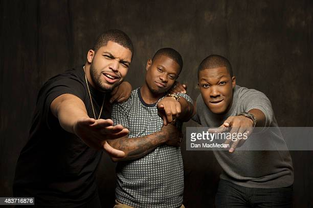 Actors O'Shea Jackson Jason Mitchell and Corey Hawkins are photographed for USA Today on August 2 2015 in Los Angeles California PUBLISHED IMAGE