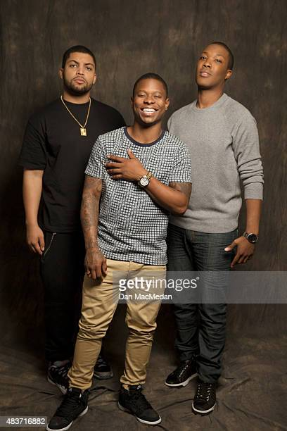 Actors O'Shea Jackson Jason Mitchell and Corey Hawkins are photographed for USA Today on August 2 2015 in Los Angeles California