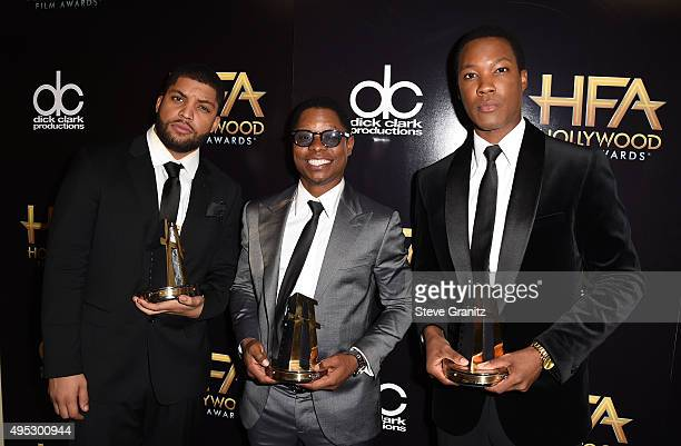 Actors O'Shea Jackson Jason Mitchell and Corey Hawkins winners fo the Hollywood Breakout Ensemble Award for Straight Outta Compton pose in the press...