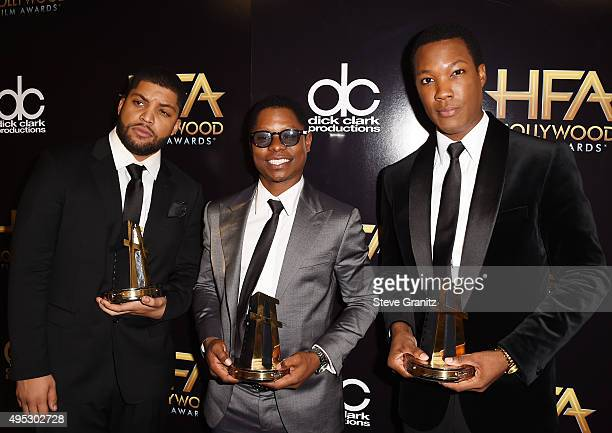Actors O'Shea Jackson Jason Mitchell and Corey Hawkins winners fo the Hollywood Breakout Ensemble Award for 'Straight Outta Compton' pose in the...