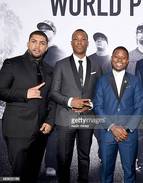 Actors O'Shea Jackson Jr Corey Hawkins and Jason Mitchell arrive at the premiere of Universal Pictures and Legendary Pictures' 'Straight Outta...