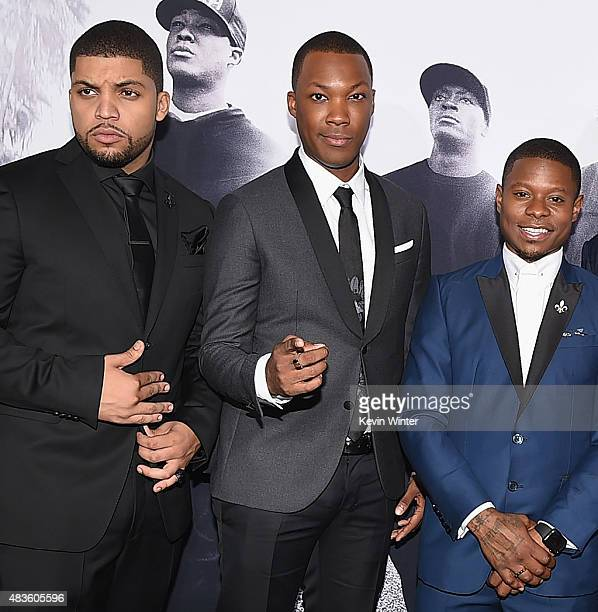 Actors O'Shea Jackson Jr Corey Hawkins and Jason Mitchell attend the Universal Pictures and Legendary Pictures' premiere of 'Straight Outta Compton'...