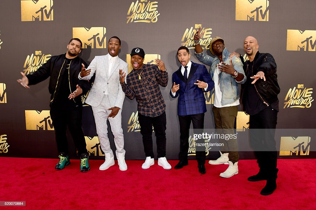 Actors O'Shea Jackson Jr., Corey Hawkins, Jason Mitchell, Neil Brown Jr., Aldis Hodge, and Common attend the 2016 MTV Movie Awards at Warner Bros. Studios on April 9, 2016 in Burbank, California. MTV Movie Awards airs April 10, 2016 at 8pm ET/PT.