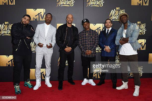 Actors O'Shea Jackson Jr Corey Hawkins recording artist Common actors Neil Brown Jr and Aldis Hodge attend the 2016 MTV Movie Awards at Warner Bros...