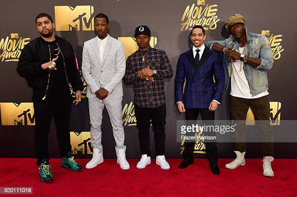 Actors O'Shea Jackson Jr Corey Hawkins recording artist Common actors Neil Brown Jr Jason Mitchell and Aldis Hodge attends the 2016 MTV Movie Awards...