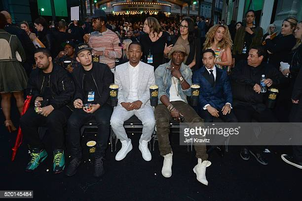 Actors O'Shea Jackson Jr Darrel Jackson Corey Hawkins Aldis Hodge Neil Brown Jr and producer DJ Yella attend the 2016 MTV Movie Awards at Warner Bros...