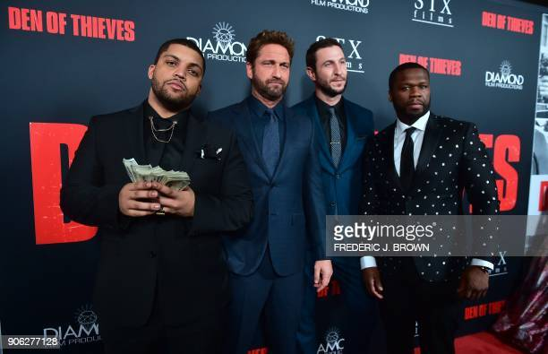 Actors O'Shea Jackson Jr Gerard Butler Pablo Schreiber and Curtis '50 Cent' Jackson arrive for the premiere of the film 'Den of Thieves' in Los...