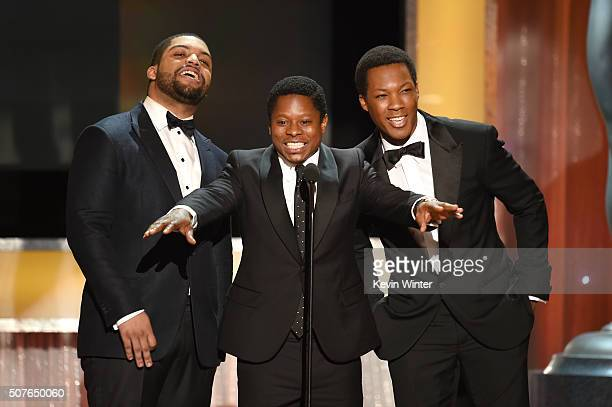 Actors O'Shea Jackson Jr Jason Mitchell and Corey Hawkins speak onstage during The 22nd Annual Screen Actors Guild Awards at The Shrine Auditorium on...