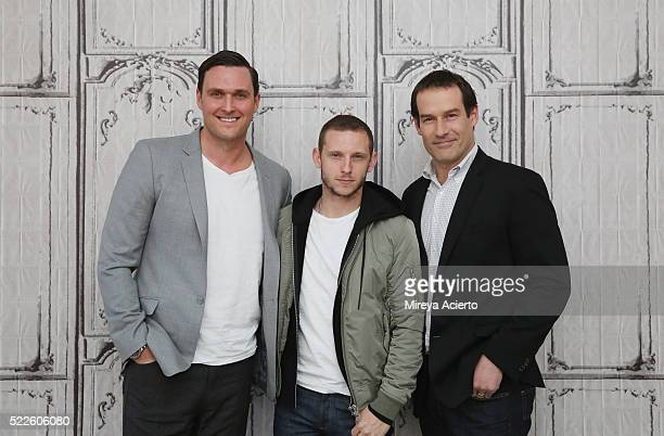 Actors Owain Yeoman Jamie Bell and Ian Kahn attend AOL Build Series to discuss the television show TURN at AOL Studios in New York on April 20 2016...