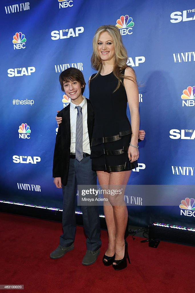 Actors Owen Tanzer (L) and Marin Ireland attend 'The Slap' New York Premiere Party at The New Museum on February 9, 2015 in New York City.