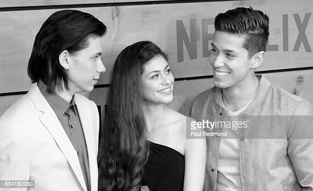 Actors Owen Teague Taylor Rouviere and Brandon Larracuente attend the Premiere Of Netflix's Bloodline at Landmark Regent on May 24 2016 in Los...