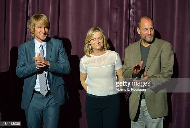 "Actors Owen Wilson, Amy Poehler and Woody Harrelson arrive at the premiere of Relativity Media's ""Free Birds"" at the Westwood Village Theatre on..."