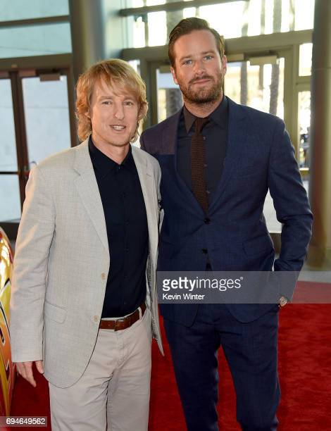 Actors Owen Wilson and Armie Hammer attend the premiere of Disney and Pixar's 'Cars 3' at Anaheim Convention Center on June 10 2017 in Anaheim...