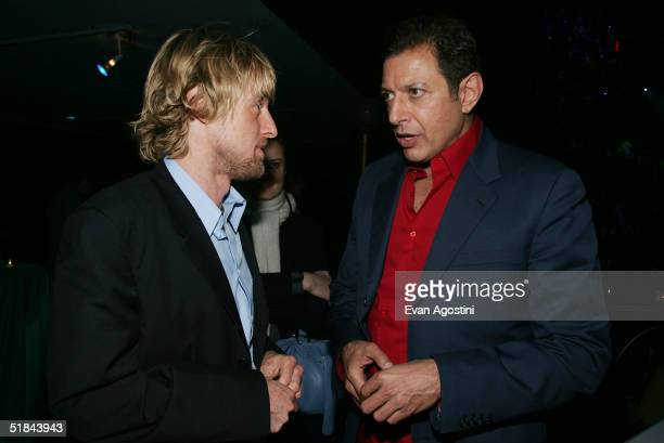 "Actors Owen Wilson and Jeff Goldblum chat at ""The Life Aquatic With Steve Zissou"" premiere after party at Roseland Ballroom December 9, 2004 in New..."