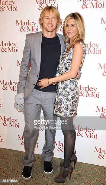 Actors Owen Wilson and Jennifer Aniston attend the Paris photocall of Marley Me at the Hotel Bristol on February 26 2009 in Paris France