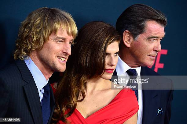 Actors Owen Wilson Lake Bell and Pierce Brosnan arrive at The Premiere Of The Weinstein Company's No Escape at Regal Cinemas LA Live on August 17...