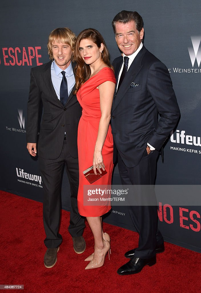 Actors Owen Wilson, Lake Bell and Pierce Brosnan attend the premiere of the Weinstein Company's 'No Escape' at Regal Cinemas L.A. Live on August 17, 2015 in Los Angeles, California.