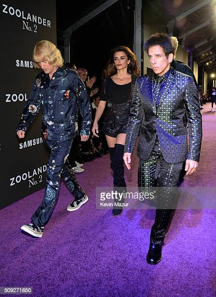 Actors Owen Wilson Penelope Cruz and Ben Stillerattends the Zoolander 2 World Premiere at Alice Tully Hall on February 9 2016 in New York City