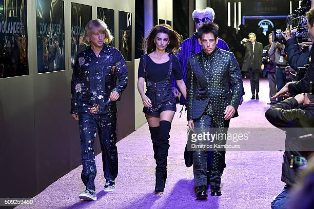 Actors Owen Wilson Penelope Cruz Will Ferrell and Ben Stiller attend the Zoolander 2 World Premiere at Alice Tully Hall on February 9 2016 in New...