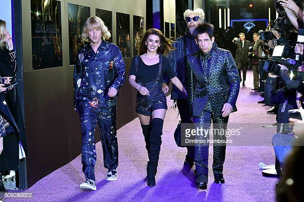 Actors Owen Wilson Penelope Cruz Will Ferrell and Ben Stiller attend the 'Zoolander 2' World Premiere at Alice Tully Hall on February 9 2016 in New...