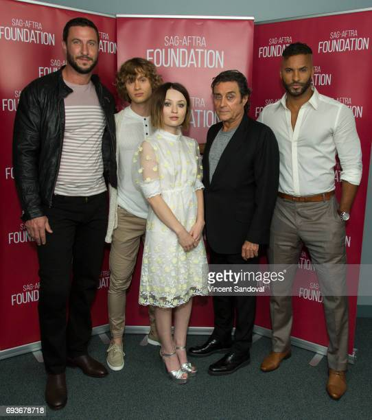 Actors Pablo Schreiber Bruce Langley Emily Browning Ian McShane and Ricky Whittle attend SAGAFTRA Foundation's Conversations with 'American Gods' at...