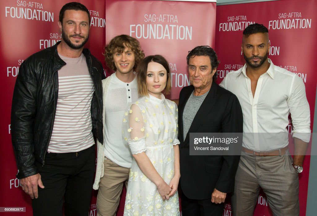 Actors Pablo Schreiber, Bruce Langley, Emily Browning, Ian McShane and Ricky Whittle attend SAG-AFTRA Foundation's Conversations with 'American Gods' at SAG-AFTRA Foundation Screening Room on June 7, 2017 in Los Angeles, California.