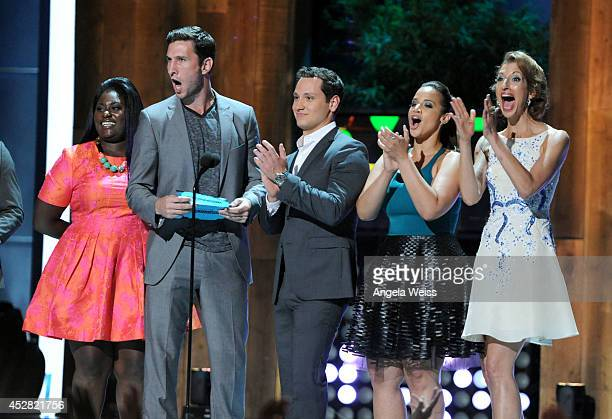 Actors Pablo Schreiber Danielle BrooksAlysia Reiner Dascha Polanco and Matt McGorry speak onstage at the 2014 Young Hollywood Awards brought to you...