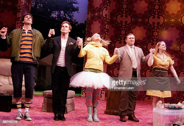 Actors Pablo Schreiber Michael C Hall Mammie Gummer Michael Chernus and Virginia Louise Smith come out for curtain call during the opening of Mr...
