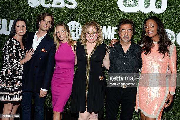 Actors Paget Brewster Matthew Gray Gubler AJ Cook Kirsten Vangsness Joe Mantegna and Aisha Tyler arrive at the CBS CW Showtime Summer TCA Party at...