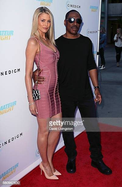 Actors Paige Butcher and Eddie Murphy attend the premiere of Cinedigm's Amateur Night at ArcLight Hollywood on July 25 2016 in Hollywood California