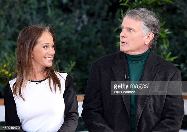 Actors Pamela Bellwood and Gordon Thomson photographed on the set of 'Dynasty' Reunion on 'Home Family' at Universal Studios Backlot on January 23...