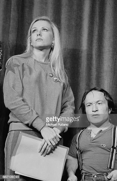 Actors Pamela Stephenson and David Rappaport at rehearsals for 'The Secret Policeman's Other Ball' at the Drury Lane theatre London September 1981...
