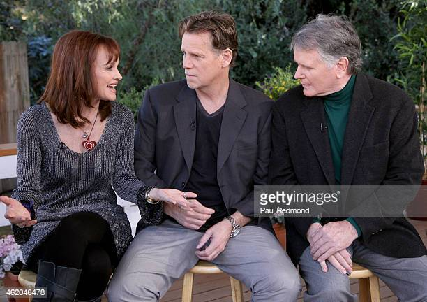 Actors Pamela Sue Martin Al Corley and Gordon Thomson photographed on the set of 'Dynasty' Reunion on 'Home Family' at Universal Studios Backlot on...