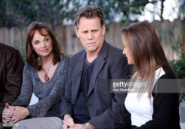 Actors Pamela Sue Martin Al Corley and Pamela Bellwood photographed on the set of 'Dynasty' Reunion on 'Home Family' at Universal Studios Backlot on...