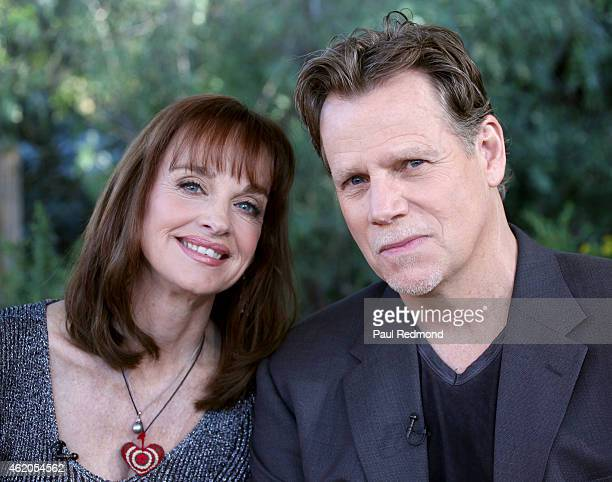 Actors Pamela Sue Martin and Al Corley photographed on the set of 'Dynasty' Reunion on 'Home Family' at Universal Studios Backlot on January 23 2015...