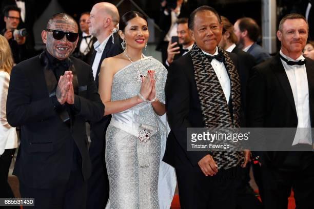 Actors Panya Yimumphai Pornchanok Mabklang and Vithaya Pansringarm and former boxer Billy Moore attend the A Prayer Before Dawn screening during the...