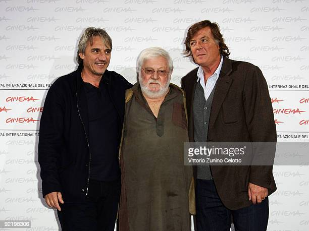 Actors Paolo Villaggio Adriano Panatta and director Mimmo Calopresti attend the 'La Maglietta Rossa' Photocall during Day 8 of the 4th International...
