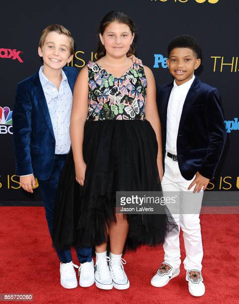 Actors Parker Bates Mackenzie Hancsicsak and Lonnie Chavis attend the season 2 premiere of 'This Is Us' at NeueHouse Hollywood on September 26 2017...