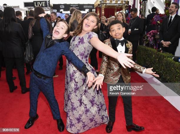 Actors Parker Bates Mackenzie Hancsicsak and Lonnie Chavis attend the 24th Annual Screen ActorsGuild Awards at The Shrine Auditorium on January 21...