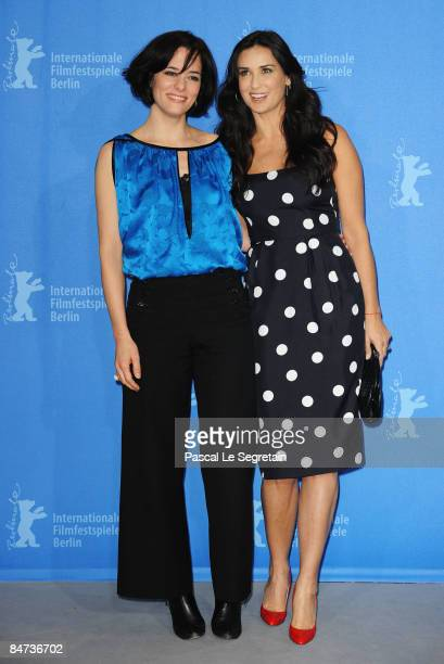 Actors Parker Posey and Demi Moore attend the photocall for 'Happy Tears' as part of the 59th Berlin Film Festival at the Grand Hyatt Hotel on...